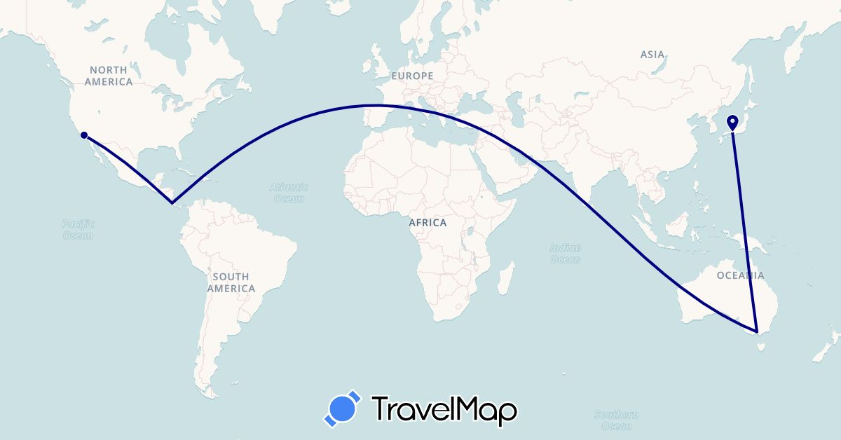 TravelMap itinerary: driving in Australia, Costa Rica, France, Japan, United States (Asia, Europe, North America, Oceania)